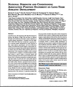 NSCA Position Statement on Long-Term Athletic Development